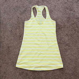 lululemon athletica Tops - Lululemon stripe yellow white cool racerback sz 6